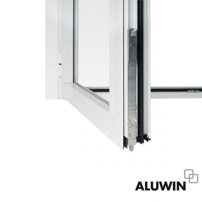 Puerta abatible dos hojas con persiana ventanas y for Ventanas de aluminio con persiana baratas